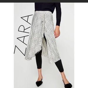 Zara Pull-on Tweed Skirt Built-in Black Leggings